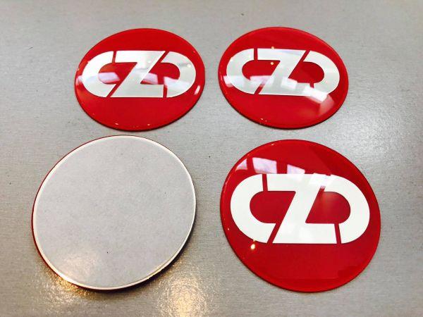 Silber / Rot 3D OZ Racing Embleme 60mm